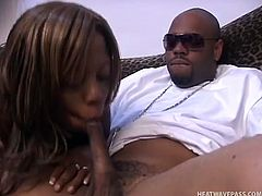 Brutal BBC wearing sunglasses enjoys watching how Nina Star plays with her tits and blows cock