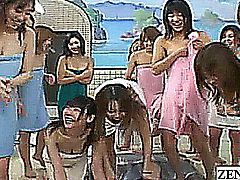 Subtitled Japanese teacher schoolgirls bathhouse harem