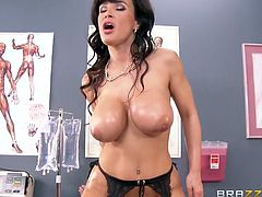 Amazing brunette milf with huge boobs Lisa Ann rides hard cock with her anal hole