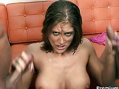 With big tits gets her sexy warm hands ruthlessly fucked