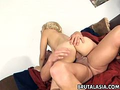 Asian blond chick Siera Lin likes it harder in missionary position from behind