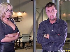 Olivia has wonderful tits and his work colleague couldn't possibly not notice them. The guy gets very turned on, after squeezing the blonde-haired slut's boobs and the atmosphere gets even hotter, when a busty milf joins them. Watch naughty Olivia eating pussy and sucking cock with sheer passion...
