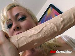 Wondrous blond head called Lorelei Lee goes wild and fucks with huge toy