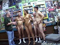 Nude oiled up chicks gets fucked in a public place