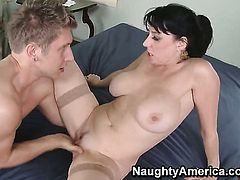 Danny Wylde uses his sturdy ram rod to bring Karen Kougar with giant boobs to the edge of nirvana