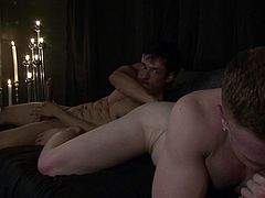 Watch Saxon, as he sucking cock of his lover Rafael, who is giving the love back, by fingering his ass. He is also giving some anal-oral action, to get Saxon's ass ready to dig deeper. And when it's done, he puts a condom on and starts shoving his big cock deep inside his ass.