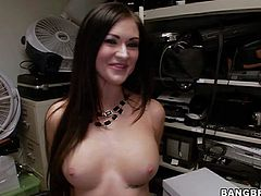 Attractive brunette Kendall Karson with big fake boobs and nice ass shows off her hot body as she sucks and fucks in the backroom. She takes meat pole up her wet vagina after dick sucking.