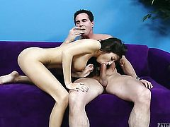 Peter North plays with wet bush of April Oneil before he bangs her hard