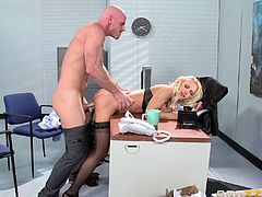 Hiring a blonde MILF in stockings was the best idea ever