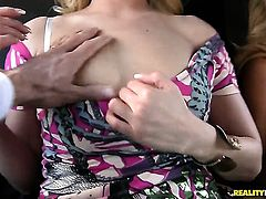 Blonde Barra Brass offers her fuckable mouth to hard cocked Choky Ice