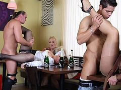 Blazing cougars getting hammered hardcore in a wild cfnm groupsex party