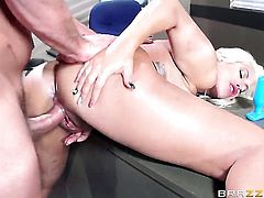 Senora Bridgette B with big breasts gets her back porch stretched by throbbing schlong of Toni Ribas
