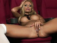 Gitta Szoke with massive boobs and smooth twat is too hot to stop rubbing her fuck hole
