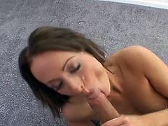 Short haired pretty Melissa Lauren is hammered doggy and fed with cum