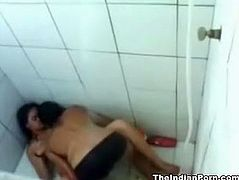 Perverted dude can't stop fucking svelte brunette's twat in the shower