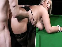 BBW in nylons takes it from behind on the pool table