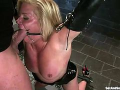 Whorish tied up blondie Ginger Lynn has to give deepthroat blowjob