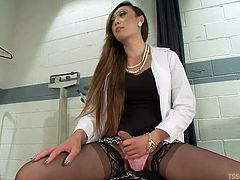 The couple comes in to the hospital, to see the doctor and she gets really horny by the sight of them. The hot shemale doctor jacks off, while the couple fucks and then, she joins in the fun. The tranny sticks her massive penis in the dude's mouth, while his girlfriend rides his stiff cock.
