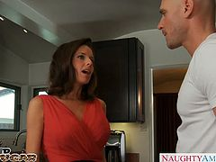 Sensational brunette milf in red dress Veronica Avluv gives titjob and gets mouth cumfilled