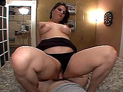 Chubby lady in miniskirt,blows cock before slammed in reality shoot