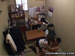 Shoplifting school girls were caught by the shop owner. As a exchage for not reporting to police, the owner asked for their lovely bodies. Watch this cute Asian babe, caught shoplifting, pays back with her pussy. Enjoy!