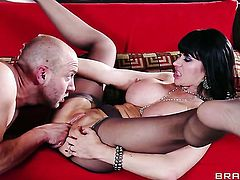 Eva Karera with giant melons shows off her hard clit as she gets drilled by Will Powers