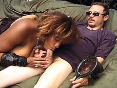 Hot black momma sucks and fucks this hot white cock until it spews hot cum.