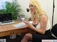 Sweet blonde office babe in pantyhose Victoria Summers suck and ride a big shaft