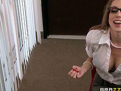 Wonder how long could you stand being in the close vicinity of Shawna? Working in the same office? Let's take a look at what this lusty blonde babe is capable of doing during break... As by accident, her skirt's buttons undo and you get the picture of her large fascinating tits. Dare to see the rest!