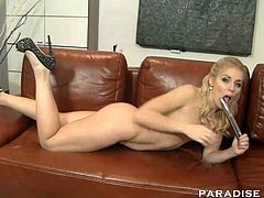 Dirty little blonde loves playing with her silver dildo before sucking and fucking a hard cock.