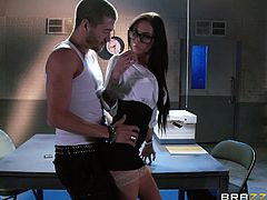 Sexy black haired agent in the duty of interrogation, is using her slutty seduction skills at work. Her hot figure and big tits keep distracting the suspect and she uses it wisely. Xander gets to grope and suck her tits, while the horny agent, Brandy, starts sucking his cock and takes it in her deep throat.