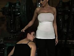 Brunette slut Pop Anca with massive hooters and lesbian Mandy Bright are horny for each other
