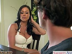 Elegant chesty brunette cougar in sexy white dress Kendra Lust gets fucked and facialized by a large schlong