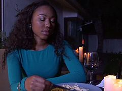 Chanel Heart and Misty Stone could tell from the very beginning, they were going to get along famously. Between moments of a flowing conversation, we kick off the unveiling of Lesbian First Dates with a breathtaking pair of ebony ladies finishing dinner of pasta and red wine. Do you want to see how two women with boiling-hot chemistry behave, in the moments before they first bed each other? Who doesn't?