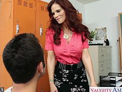 Sinfully redhead mature sex teacher in stockings Syren De Mer gets fucked and facialized in the classroom by her student