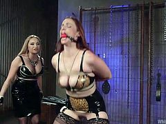 Two busty beautiful ladies are having a dominating lesbian action going on. Blonde mistress Aiden is a milf, who enjoys clipping her slave's pussy lips. Ball gagged brunette slut, Bella, enjoys the pain and gets tied with legs spread, while her domina fucks her pink twat with toy cock.