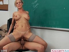 Big assed blonde teacher in stockings Brandi Love fucks student and gets facialized in classroom
