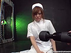 Red hot Asian babe in white nurse uniform has her pussy teased by a vibrator. She is shaking in pleasure as she cums multiple times. Watch her getting all charged up by this vibrator. Enjoy!