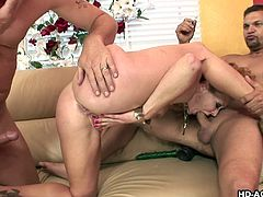 naughty brunette milf loves threesome mmf