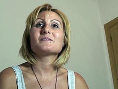 Mature blonde and busty slutty spanish Nuria takes it hard from a young cock and in the eye for dessert!