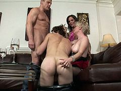 Two couples swap and play during a wild bisexual foursome
