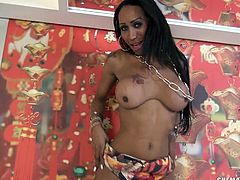 Ebony transsexual beauty Alana, has a luscious body along with her breathtaking big boobs and resplendently round rear. In her high heels, ladyboy undresses and shows off her mouthwatering naked body, before she starts to play with her hard tranny cock and taunting to fill up her tight ass.