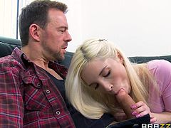 Erik knows a slut, when he sees one. And when he saw Piper, he knew, that he could screw that tight hole of hers. As this blonde is talking to him, he gets a boner and shows it to her. Watching such a big cock, girl can't help herself. She grabs it and starts sucking it with deep throating.