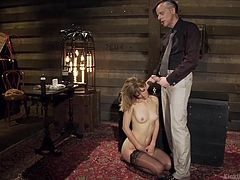Professor Danarama comes again, to demonstrate the proper brutal ways of invading a bewildering beauty. Blonde babe Mona, is present as his p. a. and naked babe only in her stockings, is ready to get throbbed. As soon as Dan gets a boner, he takes it out and shows the perfect way to fuck a throat hard and deep!