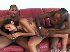 Double penetration of a slutty Latina by two black dudes