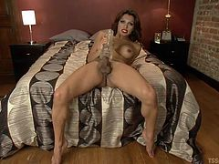 When she is all alone, this redheaded tranny loves to masturbate and play with her sex toys. She shoves her meaty cock inside this fleshlight and fucks it. Jessy knows, you are watching and she wants to cum inside that fake pussy for you.