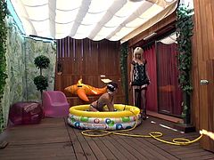 Nora and Julia Roca Barcelona have come together to spend a hot and humid summer in her inflatable. They rub their hands and use they find as sex toys.