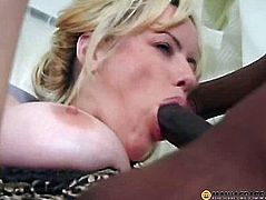 Blonde with a black man fucking on the couch