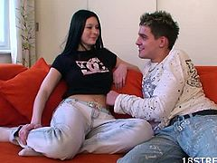 Wide and soft couch is the best place for non-stop teen fucking.See how this slim teen gets her tight shaved pussy licked before his sex hungry boyfriend fucks her tight pussy hard and deep and cums on her lovely face.