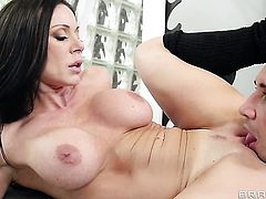 Kendra Lust with massive breasts getting mouth stuffed by Keiran Lee the way she loves it